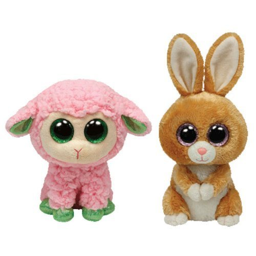 Ty Beanie Boos Carrots Brown Bunny and Babs Pink Lamb Gift Set by Ty TOY (English Manual)