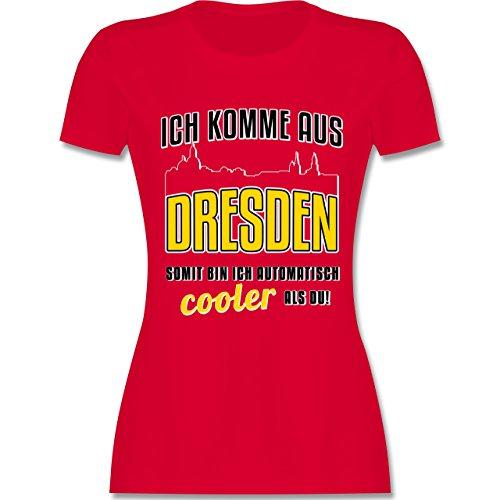 Städte - Ich komme aus Dresden - tailliertes Premium T-Shirt mit Rundhalsausschnitt für Damen Rot