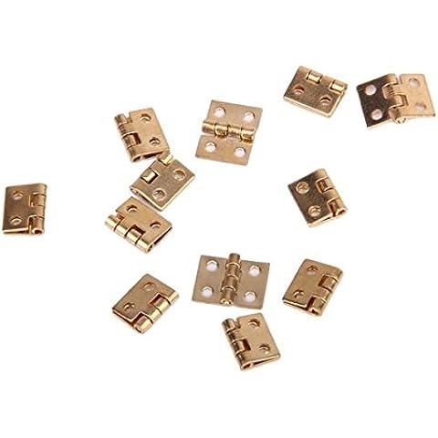 Generic - 12pcs 1/12 muebles de casa de muñecas en miniatura del gabinete closet mini bisagras - golden