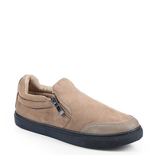 Ideal Shoes–Sneaker Bass Effekt Wildleder Gania Beige - Beige