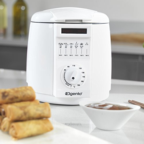 41RcTwzLTvL. SS500  - Elgento Compact Deep Fat Fryer with Cool Touch Exterior, Adjustable Thermostat, Internal Filter, Plastic, 900 W, 1 Litre, White