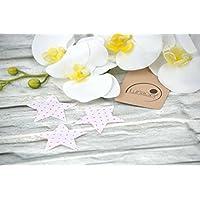 Applikation Sterne aus Bio-Baumwolle, 3 Stück, ca. 5,5 x 5,5 cm, Bügelbild, Aufnäher, Patch Aufbügeln, Mädchen, rosa, pink Punkte, Sterne