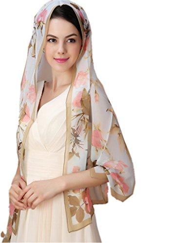 Prettystern - 165 cm handgerollt trasparente sciarpa di seta chiffon - roseti in fiore - cielo blu