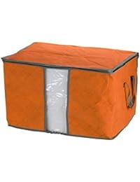 SODIAL(R) Organizador Almacenamiento para Manta Edredon Ropa Naranja Tela No Tejida