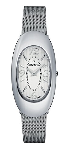 GROVANA 4416.1132 Women's Quartz Swiss Watch with White Dial Analogue Display and Silver Stainless Steel Bracelet