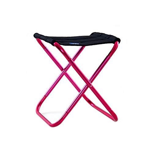 XBZDY Tragbarer Faltender Hocker, Faltendes Licht-Lager-Aluminiumhocker Im Freien Kampierend, Fischen, Picknick, Reise (26 × 22 × 19cm), DREI Farben Wahlweise Freigestellt (Color : Rose red) -