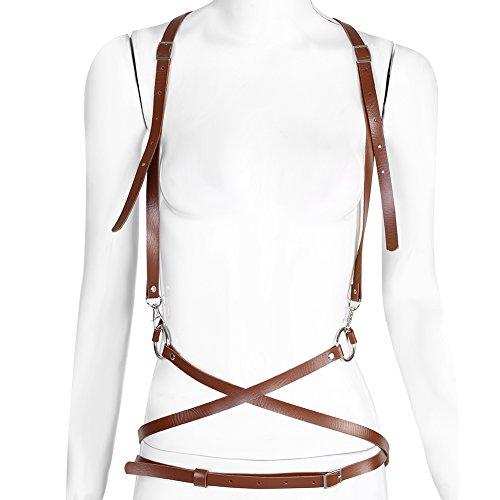 Damen Kostüm PU Leder Body Harness Geschirr Einstellbar Schnallen Gürtel für Mädchen Frauen Dark Rock Street Lingerie Körper (Braun)