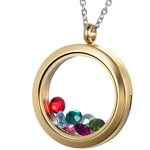 r mit Halskette, Edelstahl Rund Schwimmend Charm Kreis Speicher Medaillon Gold Anhänger mit Bunten Stein, DIY Schmuck ()