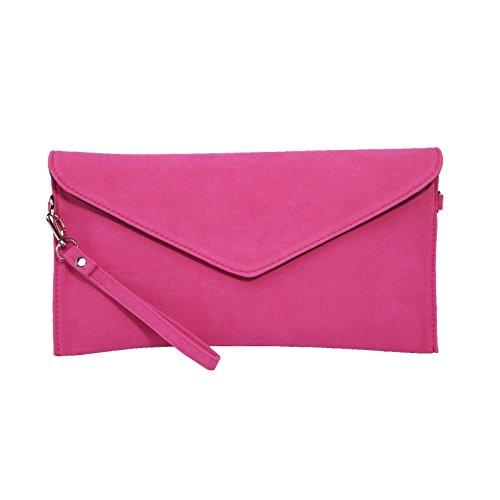 Jieway Frauen Faux Suede Abend Clutch Tasche Schulter Handtasche Messenger Umschlag Taschen(Rose) (Leder Bag Clutch)