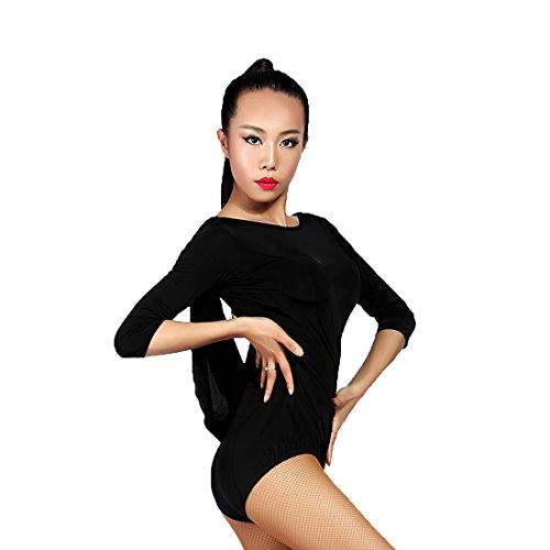 G1016 Latin Tanz rückenfreie Tops angeboten von GloriaDance (black, medium) (Kurzarm-kleid Waltz)