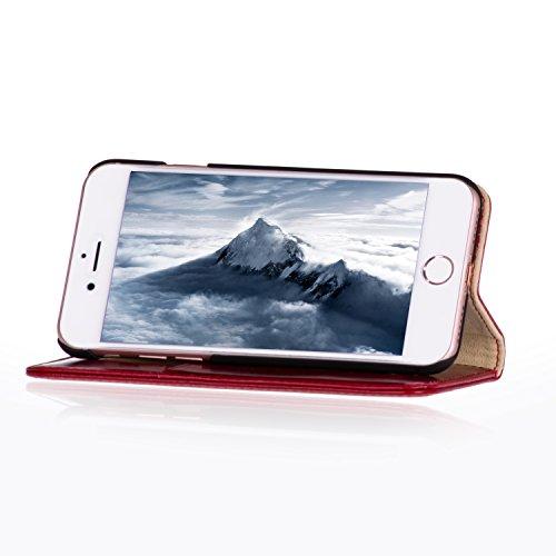 Étui iPhone 8 / iPhone 7 de TORRO en Cuir Véritable à deux tons. Coque Housse Etui portefeuille, très mince avec Fonction de Support en cuir de qualité supérieure, (L'extérieur Rouge, en cuir de vérit Red