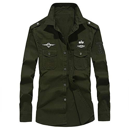 Camicia Uomo Slim Fit Camicia/Top Autunno Maniche Lunghe da Uomo Casual in Cotone con Risvolto Costume/Abbigliamento/T Shirt/Magliette