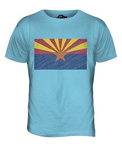 CandyMix Bundesstaat Arizona Kritzelte Flagge Herren T Shirt Himmelblau