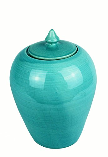 Signature Home Collection Of Lb/vn Lid Ceramic Vase, Turquoise, 21 x 21 x 25 cm