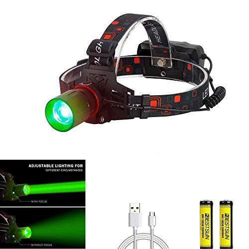 LUXJUMPER LED Stirnlampe Wasserdicht USB Wiederaufladbare Zoombar Grün LED Kopflampe 3 Licht Modi 600lm, Perfekt für Camping,Joggen, Spazieren und andere Outdoor Sport
