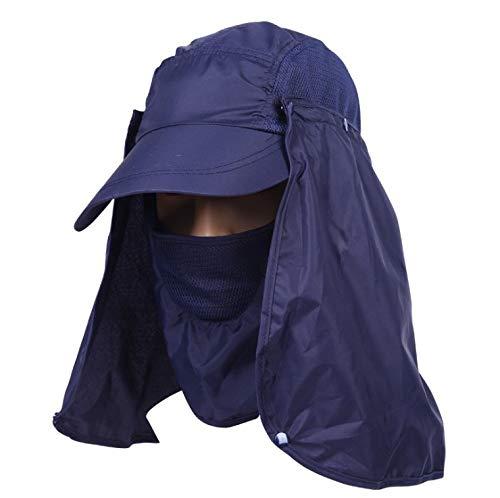 Buckle Flap Bag (QVQV Folding Fishing Hat UV Protection Mask Removable Adjustable Legion Hat Quick Dry Sun Hat Hunting Hat)