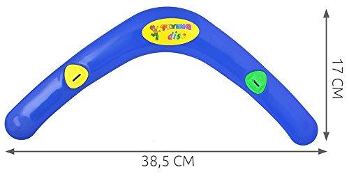 Bumerang Boomerang mit Pfeife Zweiflügler Wurfspiel Flugspiel Geburtstag 4182, Farbe:Blau