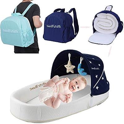 Baby Infant Bassinet Crib Cots Travel Bed Bedside Sleeper Mattress Lounger Cradle Newborn Portable Gift (Blue BB)