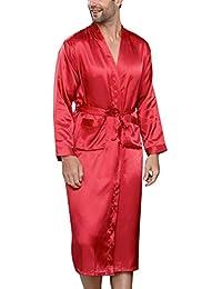 YAOMEI Albornoz para Hombre Vestido Batas y Kimonos Satén, Suave y Ligero Satén Camisón,