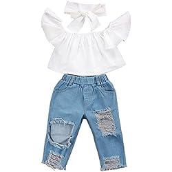 Ropa bebé niña infantil Tops sin hombros para bebés + Pantalones vaqueros del dril de algodón + Diadema Conjuntos de ropa Amlaiworld (Blanco, Tamaño:6-12Mes)
