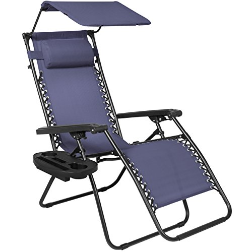 Navy Blue : Best Choice Products Folding Zero Gravity Recliner Lounge Chair W/ Canopy Shade & Magazine Cup Holder-Navy Blue