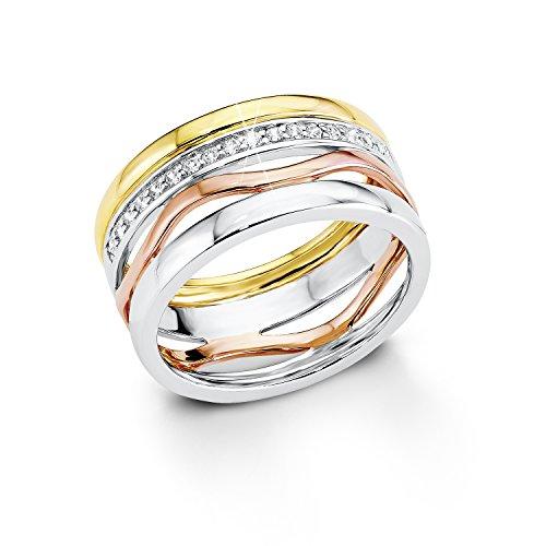 s.Oliver Jewel Damen-Ring 925 Silber teilvergoldet Zirkonia weiß Gr. 58 (18.5) - 508780