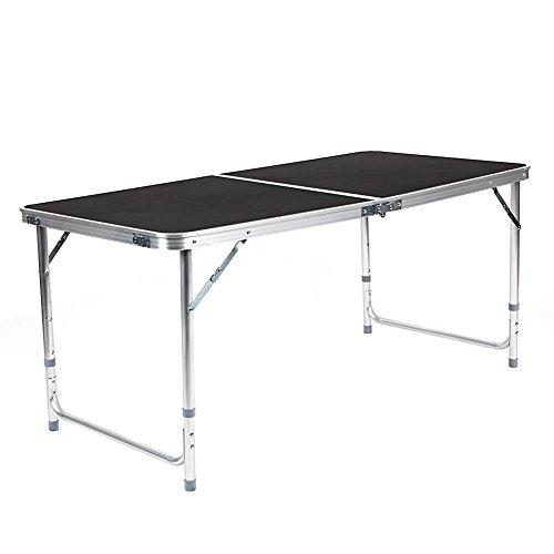 Amzdeal Campingtisch Gartentisch 120 x 60 x55-70 cm Klapptisch Falttisch Faltbarer Tisch bis 30 kg belastbar Faltgröße: 60×60×6.5cm Campingmöbel Koffertisch(Schwarz)