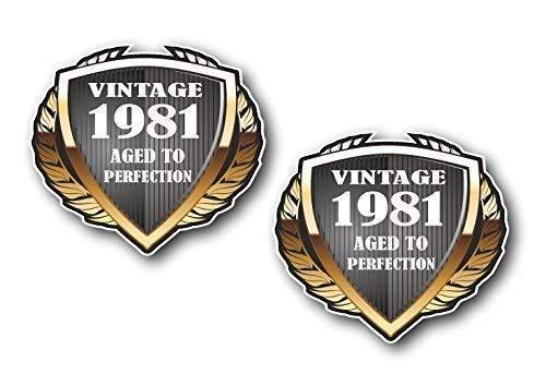 Sticar-It Ltd 2pcs Of 1981 Anno Datato Protezione Vintage Retrò Vinile per Auto Casco da Moto Cafe Racer Adesivo Distintivo Decal Cadauno 55x50mm