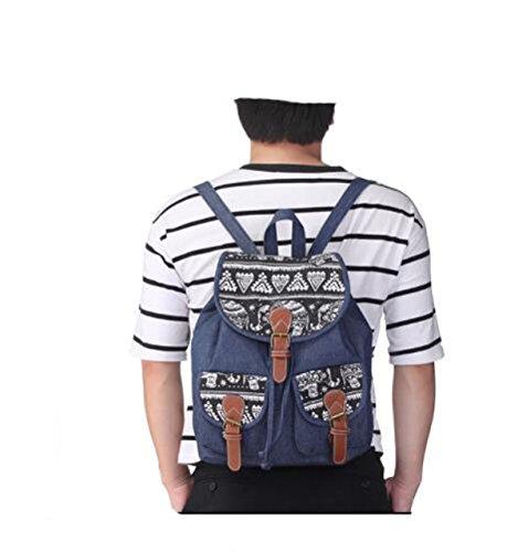 Ethnische Canvas Rucksäcke Damen Reise Daypack Schultertasche Mit Druckmuster Darkblue