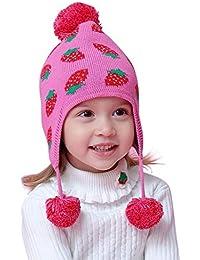 02d0227e98ba AOOPOO Bonnet en Tricot de Coton Jacquard Fraise Bébé - Cache-Oreilles pour  Enfants Fille