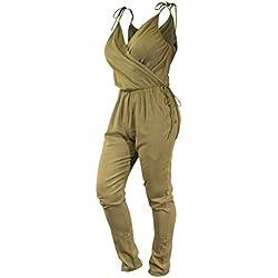 CCcollections Combinaison en Coton Naturel et Tons ocres pour Femme. Tenue décontractée bohémienne. Cou en V, Confortable et élégante (Khaki Yellow, Medium)