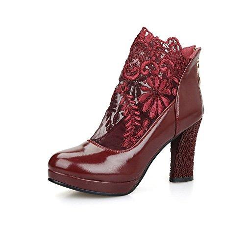 Sconosciuto 1TO9 Girls zipper Lace Dress poliuretano pumps-shoes Red