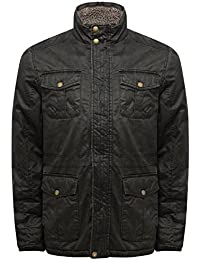 M&Co Mens Long Sleeve Funnel Neck Borg Lined Zip Up Rustwash Utility Style Winter Jacket