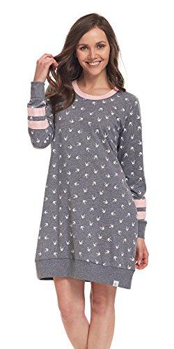 DN, Nachthemd, TM.9310, grey-P, Gr. L (Seiden-baumwoll-kleid)