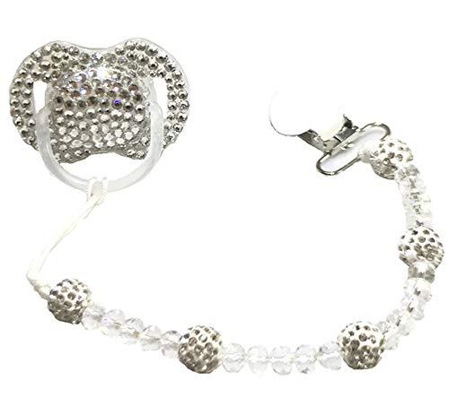 Dollbling benutzerdefinierte einzigartige Sparkle Strass/weiße Perlen Kristalle Baby Schnuller, 1PC (Silber+Clip)