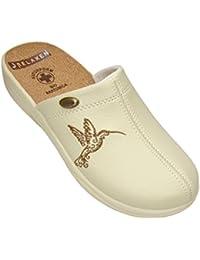 Relaxen Sandales Pour Femmes Slip-On | Semelle en Liège | Chaussures de Travail Cuir Oiseau Détails 36-41 Beige Noir Blanc Modèle 3512-PT