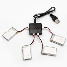 Time4Deals® 4pcs 3.7V 500mAh batería y cargador de 1 a 4 para el quadcopter de X5c X5sc X5sw RC syma drone repuestos