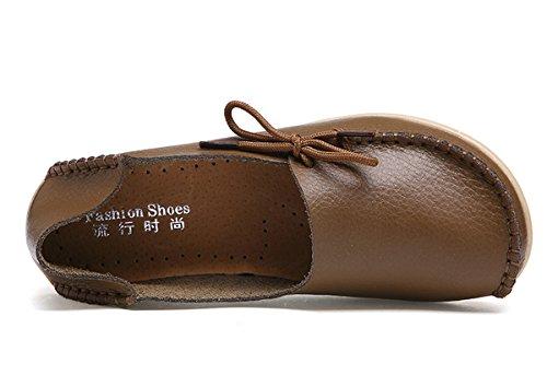 Damen Casual Mokassin Leder Loafers Fahren Schuhe Comfort Freizeit Flache Schuhe Slipper Flats chuhe Low-top Lederschuhe Erbsenschuhe Braun