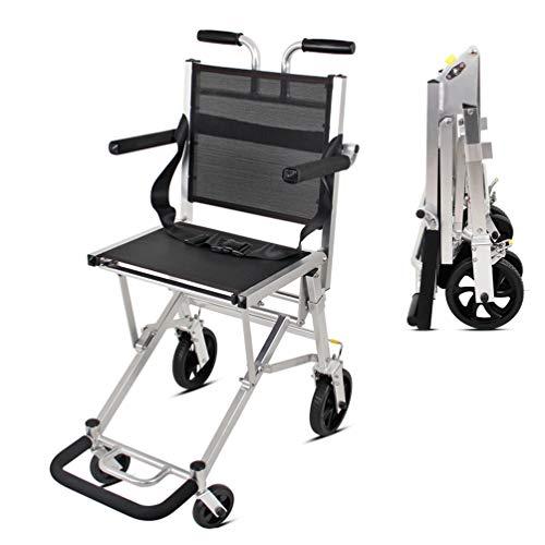 Mobiler Aluminium-Transportrollstuhl mit 16-Zoll-Sitz und klappbarem Rollstuhl Leicht zu transportieren und zu lagern 6,7-Zoll-Heck, 100 kg Tragkraft, Groy -