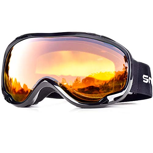 SnowledgeSkibrilleDamen& Herren SkiGogglesUV400 Schutz Doppelscheibe Anti-BeschlagHelmkompatiblefür Brillenträger(B-orange)