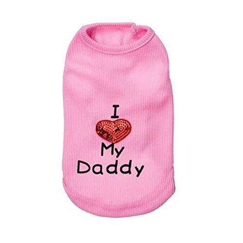 WESEEDOO Hundemantel Hund Hoodies Kleidung Hund Kostüm Hund T-Shirt Frühling Und Sommer Neue Hund Kleidung Thread Daddy Print Cute Pet Weste pink