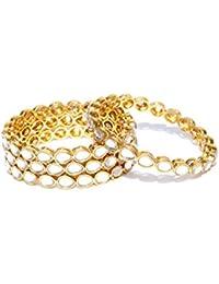 Priyaasi Royal Style Openable Broad Gold Plated Kundan Bangles Set