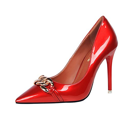 XINJING-S Bowknot High Heels Schuhe Party Hochzeit Frauen Pumps Heels OL Kleidung Schuhe Sandalen Rot