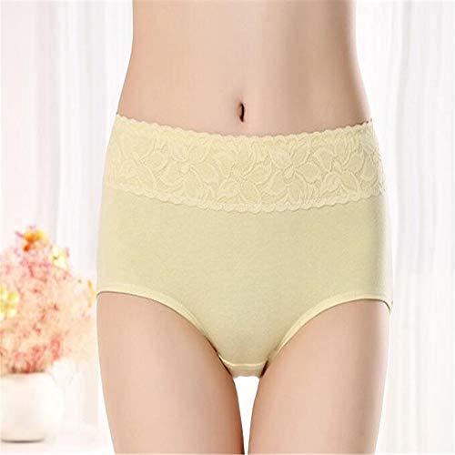 GAOQIANGFENG Frauen Sexy Lace Panty Briefs Damen HöschenPure Baumwolle atmungsaktiv, bequem, Schweiß, Feuchtigkeitsaufnahme, gesundes Material Dreieck Damenunterwäsche, gelb