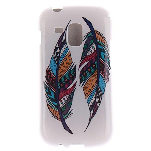 Samsung Galaxy S Duos S7562 S7560 S7560M hülle MCHSHOP Ultra Slim Skin Gel TPU hülle weiche Silicone Silikon Schutzhülle Case für Samsung Galaxy S Duos S7562 S7560 S7560M - 1 Kostenlose Stylus (Löwenz Tribal Aztec Feder (Tribal Aztec Feather)