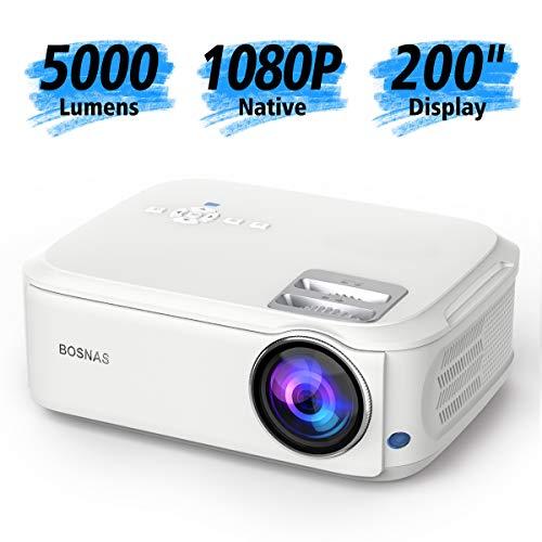 Home Theater Proiettore Full HD Nativa 1080p 4000 Lux LED Videoproiettore HD max 200' pollici HDMI USB SD VGA AV Laptop, Smartphone perfetto per giochi di calcio, Film - Bianco