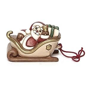 THUN Slitta con Babbo Natale Bimbi e Personaggi, Ceramica, Variopinto