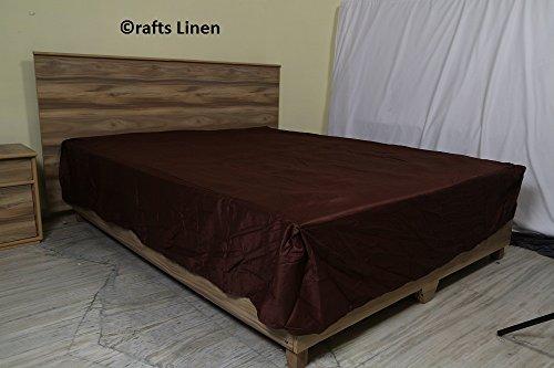 Crafts Linen Basteln, ägyptische Baumwolle, Fadendichte 300 – eine Menge Satin Bettwäsche Einzelbett 33 cm (Rock) mit Tiefe, Schoko, massiv