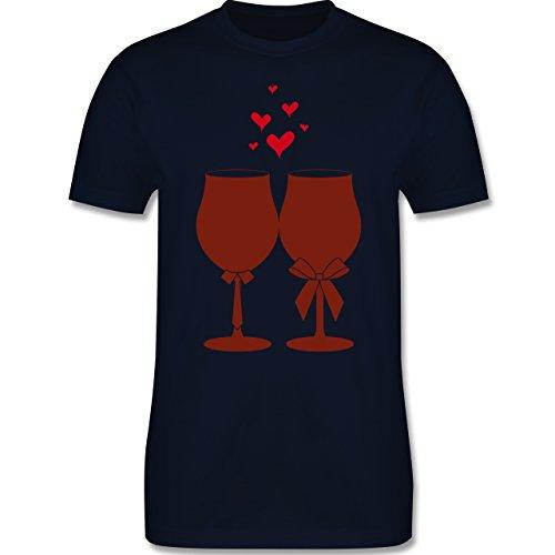 Symbole - Weingläser Wein - Herren Premium T-Shirt Navy Blau
