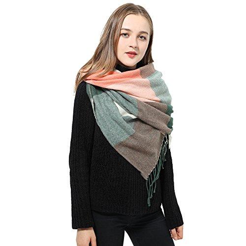 Schal Damen Scarf Womens Langer Schal Winterschal Damen Schöne Schals, weiß/schwarz-grün/rosa, Gr. one size